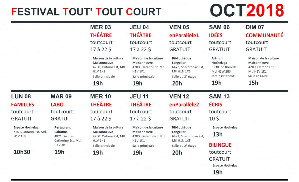 Calendrier Festival.Festival Tout Tout Court 2018 Absolu Theatre